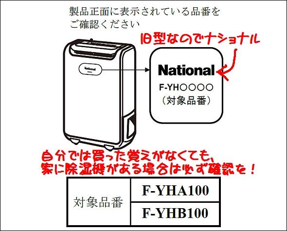 パナソニック(旧ナショナル)除湿機 リコール対象機種